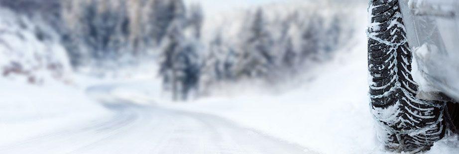 Snowy winter car tyre
