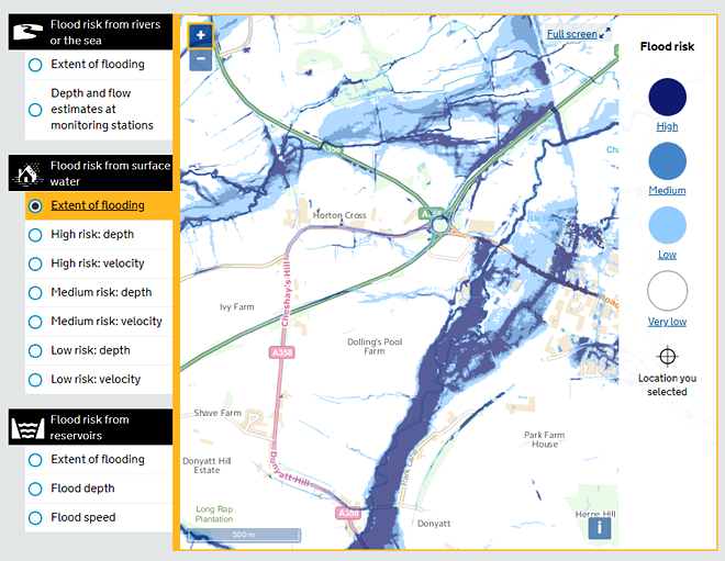 Flood risk from surface water map