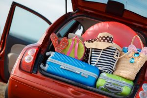 Car boot with luggage