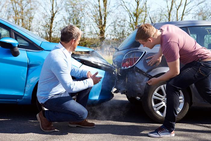 Two drivers argue after crash