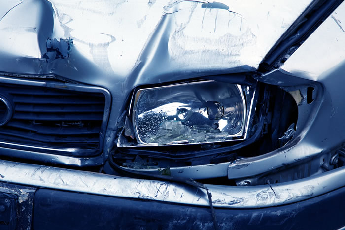 Damaged car headlamp