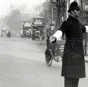 Policeman directing traffic in London in 1927