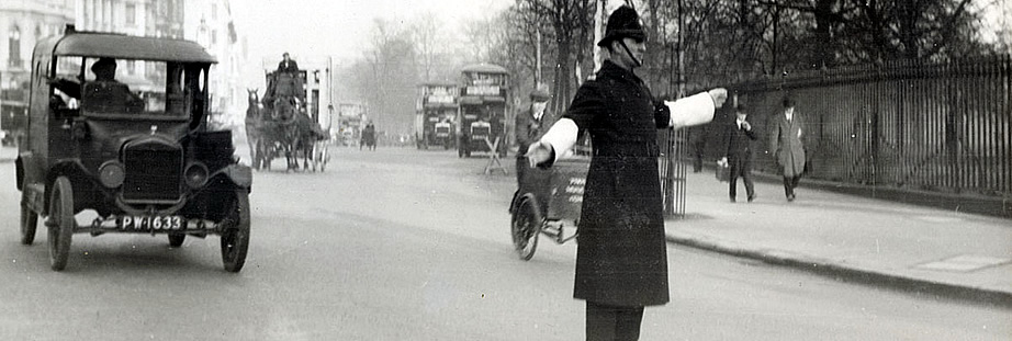 Policeman directing traffic in London in 1927