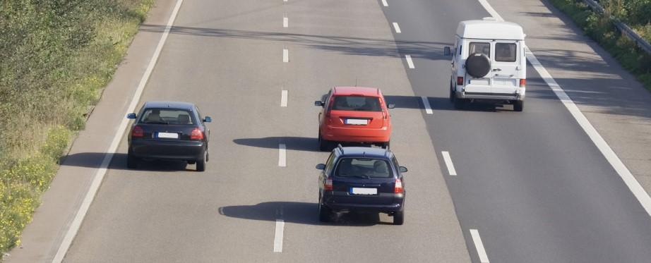 Car tailgating on motorway